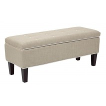 Cambridge Storage Bench with Dark Espresso Legs and Milford Toast Fabric