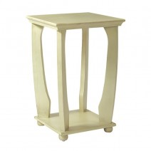 Mila Square Accent Table in Antique White Wood Finish