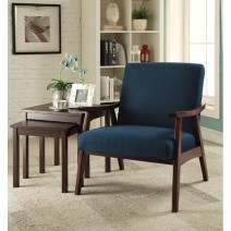 Davis Chair in Klein Azure fabric with medium Espresso frame.