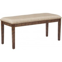 Langston Bench in Cream/Beige PU with Antique Bronze Nail Heads K/D