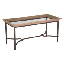 Tacoma Coffee Table in Light Pine Finish with Tempered Glass Top K/D