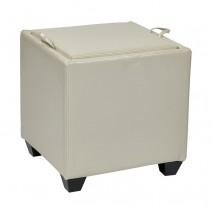 Storage Ottoman with Tray in Cream Bonded Ther