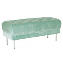 Addie Tufted Bench in Sea Fabric with Chrome Legs