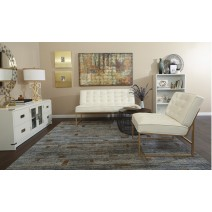 Anthony Loveseat in White Faux Ther with Coated Gold Base
