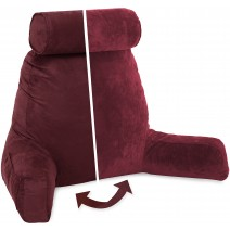Husband Pillow, Aspen Edition - Arizona Maroon Big Support Bed Backrest Reversable MicroSuede/MicroFiber Reading Pillow