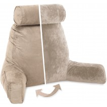 Husband Pillow, Aspen Edition - Cowboy Taupe Big Support Bed Backrest Reversable MicroSuede/MicroFiber Reading Pillow