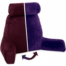 Husband Pillow, Aspen Edition - Mauve Purple Big Support Bed Backrest Reversable MicroSuede/MicroFiber Reading Pillow