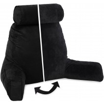 Husband Pillow, Aspen Edition - Stable Black Big Support Bed Backrest Reversable MicroSuede/MicroFiber Reading Pillow
