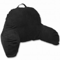 Deluxe Comfort Microsuede Bed Rest - Reading and Bedrest Lounger - Sitting Supprt Pillow - Soft But Firmly Stuffed Fiberfill - Backrest Pillow With Arms, Black
