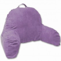Deluxe Comfort Microsuede Bed Rest - Reading and Bedrest Lounger - Sitting Supprt Pillow - Soft But Firmly Stuffed Fiberfill - Backrest Pillow With Arms, Light Purple