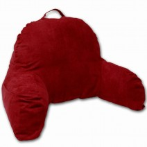 Deluxe Comfort Microsuede Bed Rest - Reading and Bedrest Lounger - Sitting Supprt Pillow - Soft But Firmly Stuffed Fiberfill - Backrest Pillow With Arms, Red