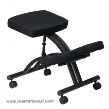 Ergonomically Designed Knee Chair, Black Metal Frame with Dual Wheel Carpet Casters