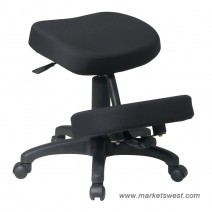 Ergonomically Designed Knee Chair, Black Metal Frame and Five Star Base with Dual Wheel Carpet Casters