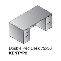 "Kenwood Double Pedestal Desk 72"" x 36"", Espresso"