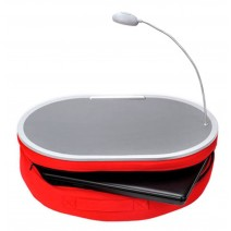 "Portable Lap Desk With LED Lamp, 18"" x 15"" - Handy Zippered Storage For Laptop Computer - Adjustable LED Work Light - Light Weight Travel Workstation With Microbead Cushion - Laptop Lapdesk, Red"