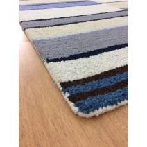 Handmade Wool Modern Ivory/ Blue 5' x 8' lt1568 Area Rug