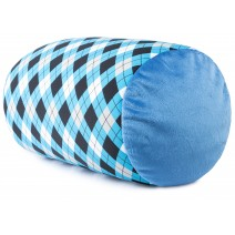 Mooshi Squish Mini Microbead Jelly Bean Bed Pillow - Airy Squishy Soft Microbeads - Throw Pillow, Blue Argyle