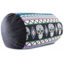 Mooshi Squish Mini Microbead Jelly Bean Bed Pillow - Airy Squishy Soft Microbeads - Throw Pillow, Day of the Dead