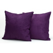 "Deluxe Comfort Microsuede Throw Pillows, 18"" x 18"" - Down Feather Filled - Decorative Colors - Soft Microsuede Cover - Throw Pillow, Purple - Pack of 2"