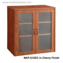 "Napa 37""H Storage Cabinet, Wood Doors, Mahogany"
