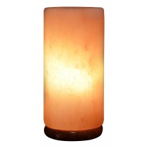 Himalayan Rock Salt Cylinder Lamp, 9 Inches Tall - Soft Calm Therapeutic Light - Smoothly Carved Handcrafted Cylindrical Design - Finished Wood Base - Tibetan Evaporated Rock Lamps - , Dark Orange Hue