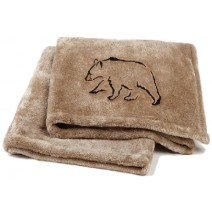 Signature Series Plushera Throw - Champagne Gold w/Black Bear