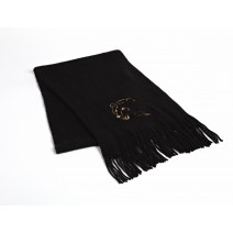 Signature Series Boucle Fringed Scarf - Angry Bear on black