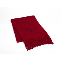 Signature Series Boucle Fringed Scarf - Black Bear on red