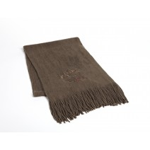 Signature Series Boucle Fringed Scarf - Moose on taupe