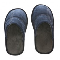 Deluxe Comfort Mens Slip-On Memory Foam Deck Slipper, Size 7-8 - Comfy Plush Micro Fleece Lining - Durable Non-Marking Ruber Sole - Wear Resistant Microsuede - Mens Slippers, Navy Blue