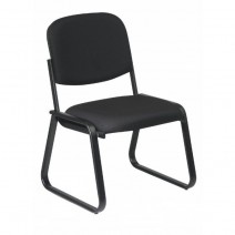 Deluxe Sled Base Armless Chair with Designer Plastic Shell, Custom C Grade Fabric