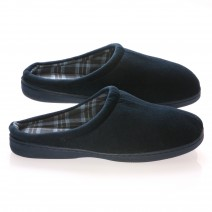 Deluxe Comfort Mens Slip-On House Slipper, Size 11-12 - Comfortable Foam Cushioning - Classic Checkered Plaid Lining - Durable Non-Marking Ruber Sole