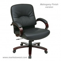 Bonded Leather Mid Back Chair with Mahogany Finish