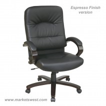 Bonded Leather High Back Chair with Espresso Finish