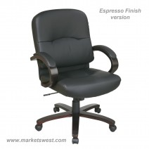 Bonded Leather Mid Back Chair with Espresso Finish