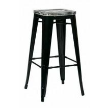 "Bristow 30"" Metal Barstool with Vintage Wood Seat"